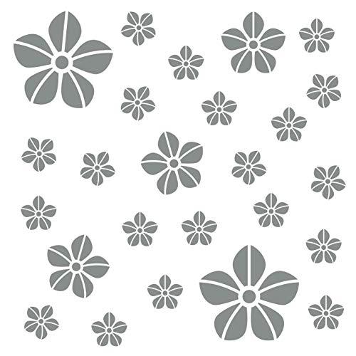 kleb-Drauf® | 25 Blumen | Grau - matt | Autoaufkleber Autosticker Decal Aufkleber Sticker | Auto Car Motorrad Fahrrad Roller Bike | Deko Tuning Stickerbomb Styling Wrapping