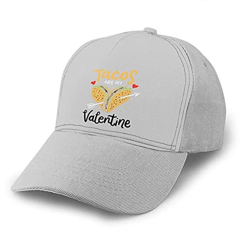 Gorra de Beisbol Tacos Are My Valentine Arrow Baseball Dad Cap Adjustable Airvent Cool Hat for Outdoor Activities Men Women Gray