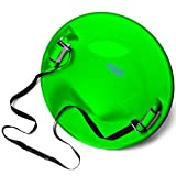 Frost Rush Arctic Saucer Sled with Foam Grips and Uphill Pull Cord Straps | Winter Snow Sled with Handles for Kids and Adults - Lime Green.