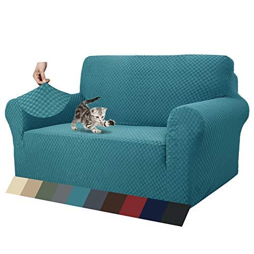 MAXIJIN Fodere per divani più recenti per 2 posti, Fodere per divanetto Jacquard Super Elasticizzato per Cani Protezione per mobili Elastica per Cani (2 Posto, Jacquard Blu Pavone)