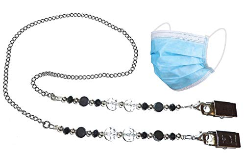 Face Mask Holder Stylish With Clips Women Girls Made in USA Safe Comfortable Decorative Lanyard Strap Necklace Jewelry Chain (Black Hematite & Crystals)
