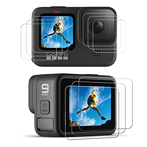 [9pcs] hero 9 Screen Protector for GoPro Hero 9 Black, Ultra Clear Tempered Glass Screen Protector + Tempered Glass Lens Protector + Tempered Glass Front LCD Display Film for GoPro Hero9 Action Camera