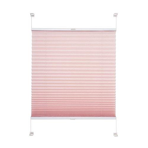 JalousieCrew Klemmfix Plissee Farbe alt rosa - Breite 45 bis 100 cm, Länge 150 cm und 220 cm - Klemm - Rollo ohne zu Bohren (70 x 150 cm)