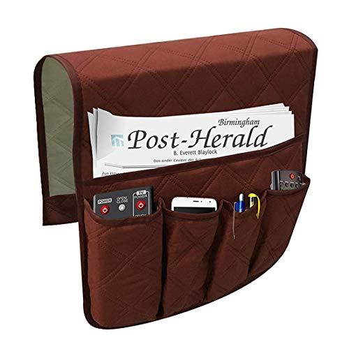 WINSTON-UK - Organizer impermeabile per divano e braccioli, antiscivolo, per divano, braccioli, comodino, organizer portaoggetti per divano e sedia reclinabile (rosso)