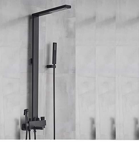 FANLLOOD Grifo de baño Negro Kit de Ducha Grifo de Ducha de Lluvia Grifo de Columna para Montaje en Pared SPA con bidé Mezclador de baño Sistema de Ducha, Modelo B