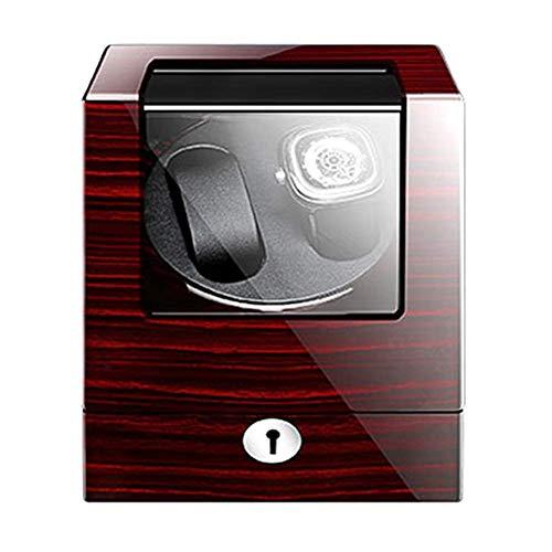 FFAN Caja enrolladora de Reloj para 2 Relojes automáticos Adaptador Exterior de Pintura de Piano de Madera y Motor silencioso Alimentado por batería Good Life