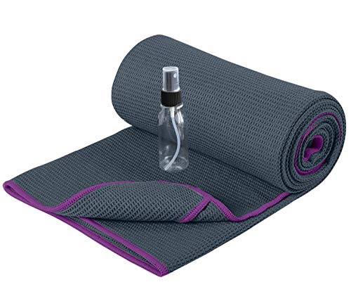 Heathyoga Non Slip Yoga Towel (183cmx66cm),Exclusive Corner Pockets...