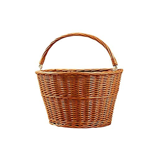 MKLS Bicycle Basket Bike Bags Handmade Artificial Wicker Woven Front Handlebar Rattan Basket For Children's Boys' Girls' Backpack,01