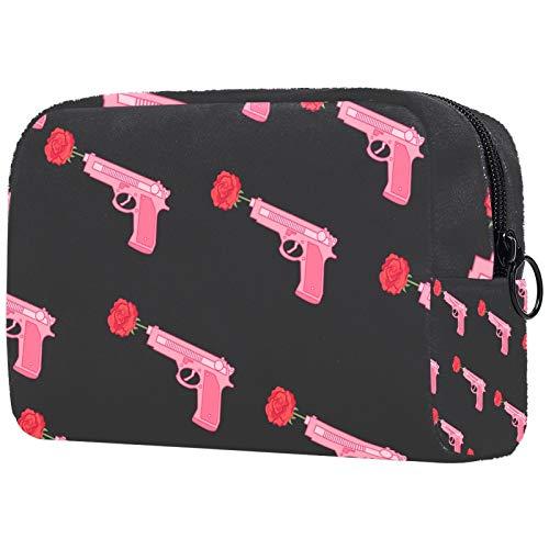 Bolsa de maquillaje personalizable, portátil, para mujer, bolso de mano, organizador de viaje, para el día de San Valentín, rosa pistola