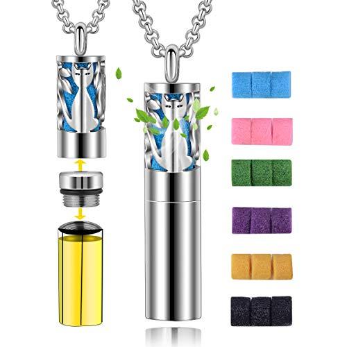 CELESTIA Ätherisches Öl Diffusor Halskette 18 Pads, 316 Edelstahl Katze Medaillon Anhänger mit Öl Diffusor & Container Spender, Aromatherapie Schmuck, Geschenke für Mädchen Damen