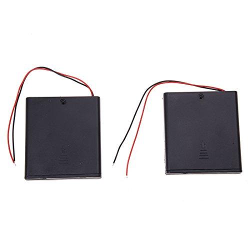 Cuasting 2 cajas de almacenamiento con cable para 4 pilas AA de 6 V, interruptor de encendido y apagado con cubierta.