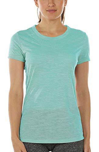 icyzone Camiseta de manga corta para mujer, transpirable, para fitness, gimnasio, estilo casual Verde hielo. S