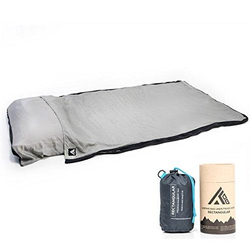 Kingdom Outdoor Gear 100% Premium Mulberry Silk Rectangular Sleeping Bag Liner and Travel Sheet with Stuff Sack (Gray/Black, Rectangular)