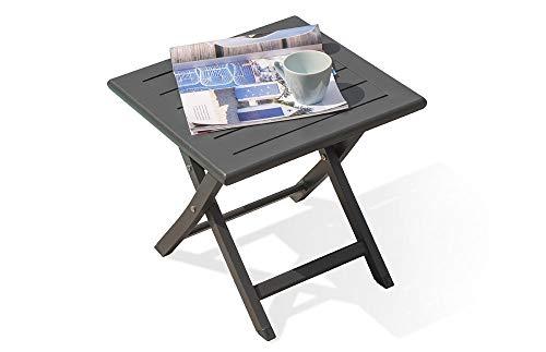 DCB GARDEN MARIUS-TB40-GRISANTH Table Basse, Anthracite, dépliée 40 cm-Desserte pliée : L 43 x l 14 x H 56 cm