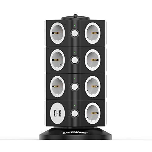 SAFEMORE Multi Socket Tower, Mehrfachsteckdose mit 15 Ladesteckdosen und 2 USB-Anschlüssen (5 V, 2,4 A), Netzschalter-Steckdosenadapter, Sicherheitstür, 2500 W / 10 A.