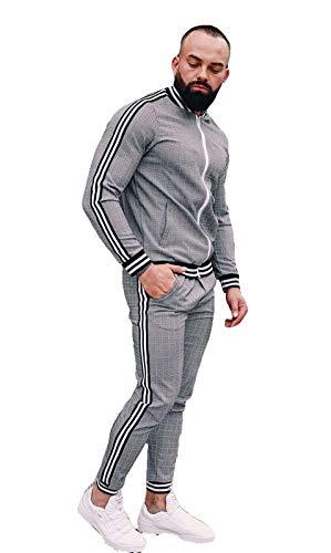 BAAFG Muscle TracksuitFullZipJoggingSweatSuitsSweatshirtTopPantsSetsSportsSuitActivewear Grey-L