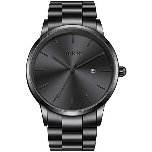 BUREI Reloj de Pulsera para Hombre y Mujer analógico de Cuarzo Acero Inoxidable Pulsera de Metal Calendario