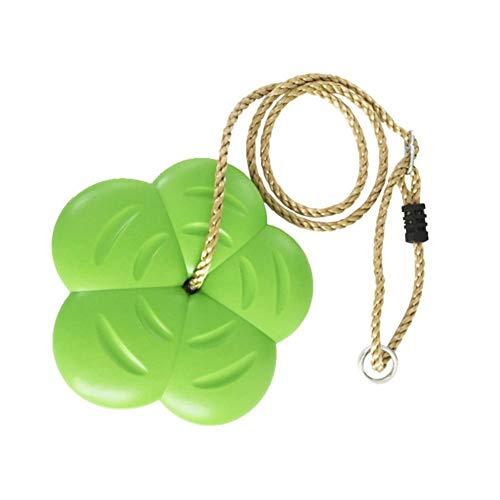 Goodtimera - Balancín de plástico para Asiento/Flor de Placa de oscilación, Columpio de plástico Verde de jardín de oscilación con Forma de pétalo de los niños