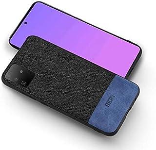 MOFI For Samsung galaxy S20 Plus Case, Black fabric, Blue Leather