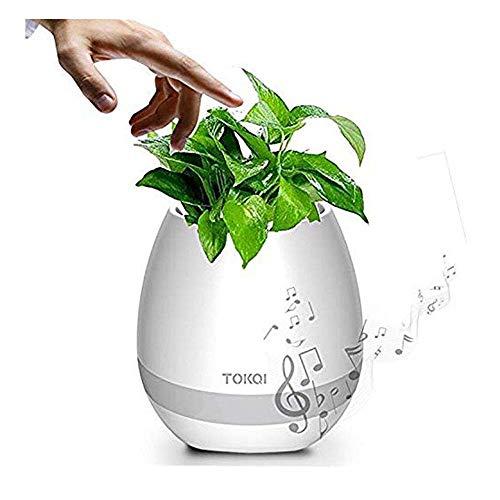 SZJH Music Flowerpot, Touch Plant Piano Music Playing Flowerpot Smart Multi-color LED Light Round Plant Pots Bluetooth Wireless Speaker whitout Plants (White)