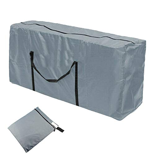 Outdoor Cushion Storage Bag, Grey Heavy DutyWaterproof Oxford FabricGarden Furniture Cushion Storage Bag with Zipper and Handles 173 x 56 x51cm