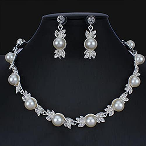 Set di Gioielli da Sposa per Donna Set di Orecchini con Collana di Perle D'imitazione Color Argento