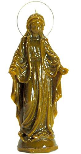 Candle Art Vela Virgen LA MILAGROSA Ayuda en General, Cera de Abeja con Plantas, RITUALIZADA
