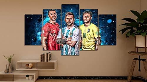 DPFRY Leinwandbild Moderne Hd Print Cristiano Ronaldo Und Messi Neymar Fußball Superstar Stoff Wohnkultur Kunst Poster Wand Leinwand 5 Stücke 150X100 cm Rahmenlose