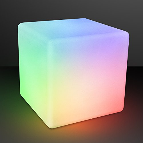 """Remote Controlled Light Up 16"""" Cube Stool Table with Rechargable Color Changing LED Lights"""