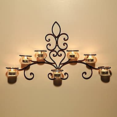 Asense HDA012 Iron and Glass Horizontal Wall Hanging Candle Holder Sconce - Scolled Vine Detail - Holds 7 Candle (Not include Candle)