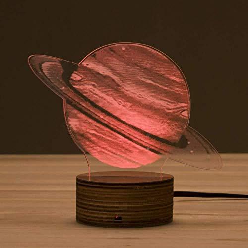 Lámpara LED de luz nocturna 3D con ilusión óptica Saturno 7 colores con control remoto Decoracion led Luz nocturna visual para niños
