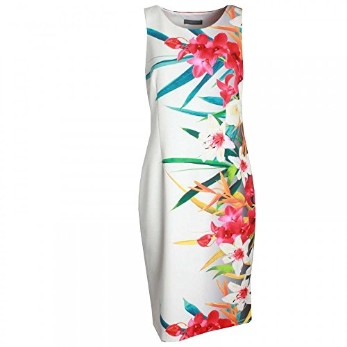 Michaela Louisa Sleeveless Foral Print Dress 10 White Multi