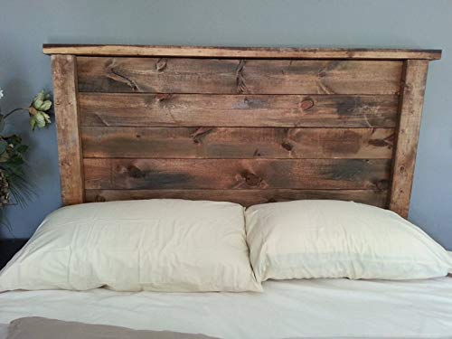Cabecero Artesanal con patas y repisa echo con madera de palet & pallet & Respaldo & Cabezal de pallets con letras para cama somier de palets