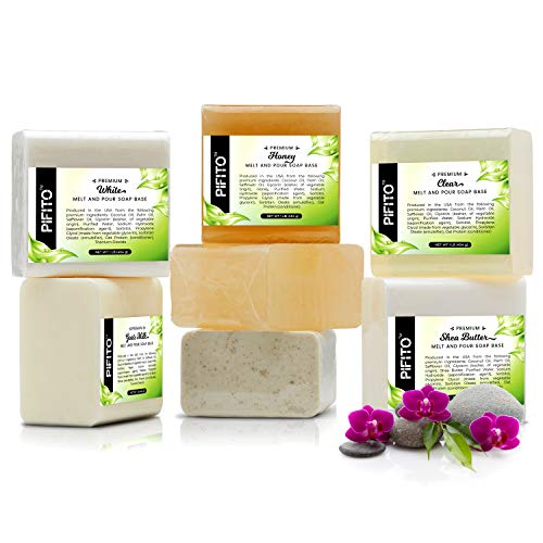 Pifito Melt and Pour Soap Base Sampler (7 lbs) │ Assortment of 7 Bases (1lb ea) │ Clear, White, Goats Milk, Shea...