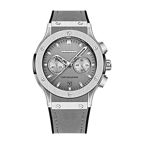 Calendario Automático Reloj De Pulsera Con Cronógrafo Analógico 丨 Correa De Cuero Esmerilado Decoración Informal De Negocios Joyería Exquisita Reloj De Moda Para Hombres 丨 30 M Diseño Impermeable