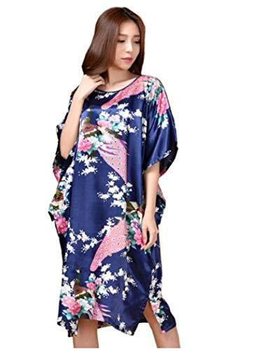 LEYUANA Summer Lounge Homewear, camisn de satn para Mujer, Novedad, Talla nica, Azul Marino