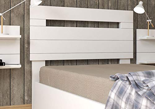 LA WEB DEL COLCHON - Cabecero de Madera Rústico Provenza para Cama de 105 (115 x 90 cms.) Blanco nórdico | Cabeceros Madera | Dormitorio Matrimonio | Cabezal Cama |Estilo nórdico
