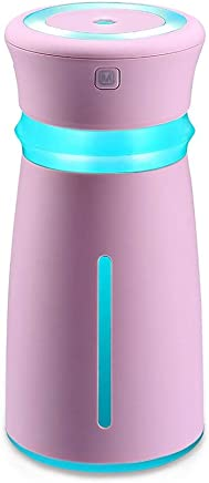 Bert100 300ML和風加湿器カップテーブルアロマ加湿器超音波加湿器アロマディフューザー小型ナシ型殺菌空気清浄機超静音LEDライト間接照明乾燥防止時間設定室内オフィス干渉花粉症対策 (Color : Pink)
