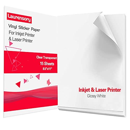 "Printable Vinyl Sticker Paper - Clear Transparent - Premium Waterproof Vinyl Sticker Paper for Inkjet Printer and Laser Printer - Decal Sheets Self-Adhesive Label Paper - 8.5""X11"" (15 Sheets)"