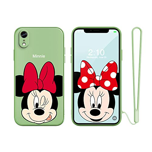 """for iPhone XR Case Cover, Slim Cartoon Kids Girls Animals TPU Soft Straight Edge Liquid Silicone Shockproof Protector Cover Skin for Apple iPhone XR 6.1"""" with Free Lanyard Gift"""