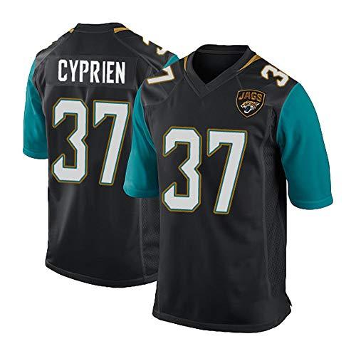 Fußballtrikot Cyprien 37# Jaguar Rugby Trikot Kurzarm T-Shirt Heimuniform Teamuniform Bequem Anti-Falten Stickerei Geburtstagsgeschenk Gr. L, Schwarz