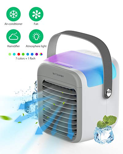 Portable Air Conditioner Fan, BlitzWolf Personal Air Cooler Desktop Cooling Fan with 2600mAh Rechargeable 3 Speeds Auto RGB Light, Mini Air Conditioner Quiet Air Humidifier for Home Office Bedroom