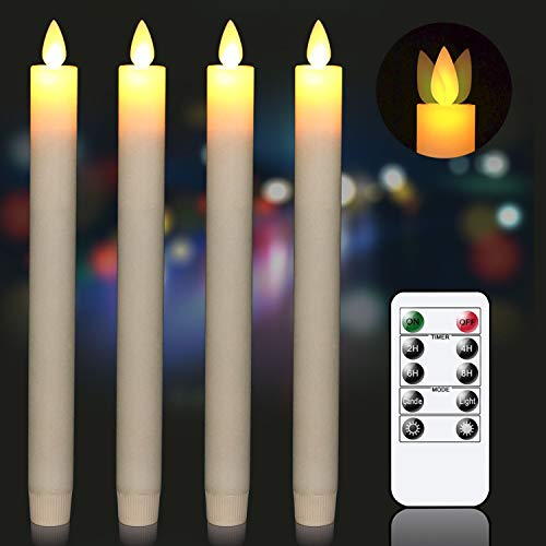 GenSwin Ivory Flameless Taper Candles with Remote & Timer, Battery Operated Moving Wick Real Wax Window Flickering LED Candles Christmas Decoration(0.78 x 9.5 Inches, Set of 4)