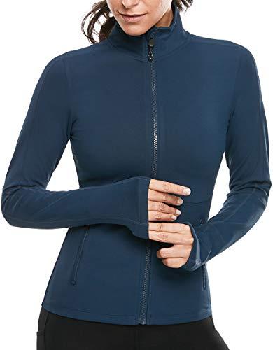 VUTRU Damen Laufjacke Slim Fit Sportjacke voll Reißverschluss Yoga Jacken Langarm Trainingsjacke mit Daumenloch Blau XS