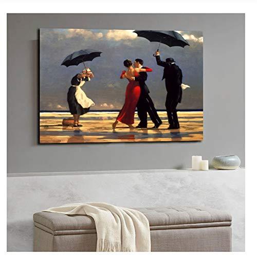 Suuyar Jack Vettriano Porträt Ölgemälde gedruckt Leinwand Poster und drucken Wandbilder Artwork Home Decor Cuadros für Wohnzimmer-60x90cm ohne Rahmen