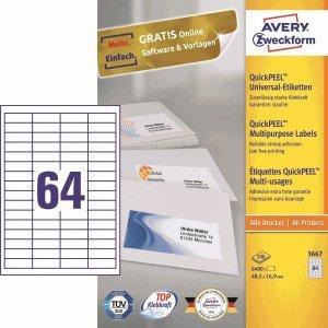 AVERY Zweckform Etiketten Inkjet/Laser/Kopier 48,5x16,9mm weiß VE=6400 Stück