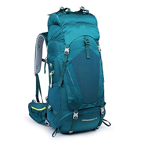 YMXLJJ Hiking Backpack 60L Waterproof Travel Backpack, Trekking Rucksack Luggage Bag, Mountaineering Climbing Fishing Camping Bag with Rain Cover for Men Women Outdoor Sports,Green