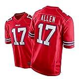 ZGRW Bills 17# Allen Maillot de rugby brodé T-shirt de sport Col en V Manches courtes Respirant Rouge Taille M