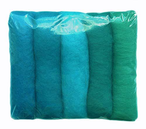 SIA COLLA-S L'ensemble de Nuances de la Laine pour Feutrage, Mix Couleurs Turquoise, 5 Couleurs Différentes Minimum, 50g.