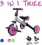 KORIMEFA 3 en 1 Vélo Draisienne Tricycle Évolutif pour Enfants 1-3 Ans Premier Vélo pour Bébés Filles Garçons Selle et Guidon Réglable (Rose + Gris)